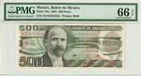 Mexico 1983 500 Pesos PMG Certified Banknote UNC 66 EPQ Gem Pick 79a