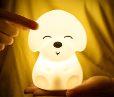 Night Light Lamp USB Rechargeable Cute Silicone Dog Kid Baby Room Lamp 7Colors