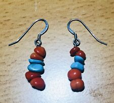 Sterling Turquoise and Coral Drop Earrings