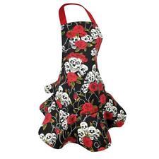 Black Skull Apron Lady Women House Kitchen Chef Restaurant Cooking Dress