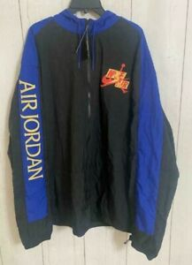 Men's Nike Air Jordan Windbreaker Black Hoodie Jacket CN3823-011 Size 3XL-TALL