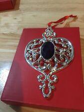"""Lenox Bejeweled Spire Ornament Purple Gem Jewel Silverplate 5"""" x 3"""" Nib Gift"""