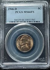 1946-d PCGS MS66FS FULL STEP SIX (6) STEP JEFFERSON NICKEL OBH OLD BLUE HOLDER