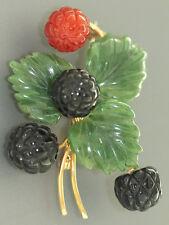 Schmuckstein Brosche Brombeere - Gold 585, Karneol, Onyx und Jade