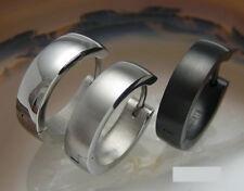 Männer Ohrringe Edelstahl Creolen 4,8mm/18mmØ silber schwarz poliert matt Bogen