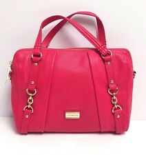 Tommy Hilfiger Satchel Small Pebble Leather Convertible Bowler Handbag (Magenta)