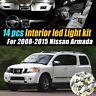 14Pc Super White Car Interior LED Light Kit Pack for 2008-2015 Nissan Armada