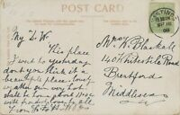 "GB VILLAGE POSTMARKS ""HASTINGS"" (Sussex) CDS 23mm 1908 clear on col pc THE LIFTS"