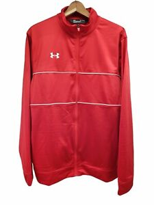UNDER ARMOUR Mens XL Loose Red Track Jacket Lightweight Full Zip Distressed
