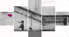 Extra Large Five Piece Set Banksy Pink Balloon Hope Graffiti Canvas Picture