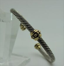 B353 Simply Unique design style Gold Dots Silver Cable Cuff Bracelet