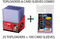 ULTRA PRO TOP LOADERS AND CARD SLEEVES COMBO 100 CARDS SLEEVES AND 25 TOPLOADERS