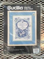 VNTG Sealed Counted Cross Stitch Bucilla Each Little Flower Blue Kit 14 ct Aida