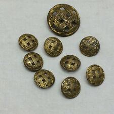 9 Vintage Victorian Metal Brass Buttons Ornate Design Basket Weave