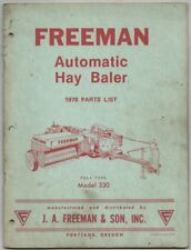 1978 Parts List FREEMAN Automatic Hay Baler Pull Type Model 300; Portland Oregon