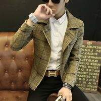 Mens Korean Lapel Wool Blend Waistcoat Slim Fit Wool Jacket Tops Casual Outwear
