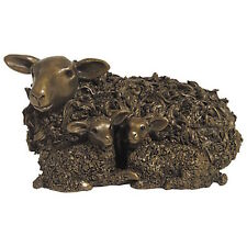 Frith Sculpture EWE & TWIN LAMBS by VERONICA BALLAN in cold cast bronze - VB029