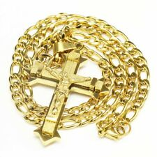 """Gold Stainless Steel cross cruz Pendant Necklace with 24"""" Figaro chain Necklace"""