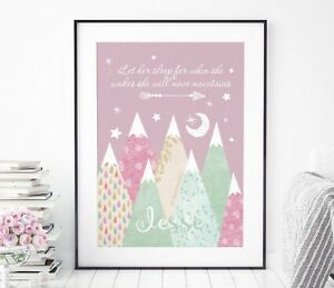 Let Her Sleep For When She Wakes Print - Pink Nursery Move Mountains Print