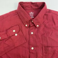 Dockers Button Up Shirt Mens Medium Wrinkle Free Red Long Sleeve Casual