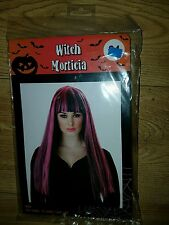 Ladies Long Straight Witch Morticia Wig Halloween Fancy Dress Costume Accessory