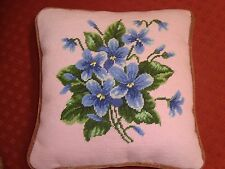 """New/Old Handmade Completed Needlepoint Blue Violets 13"""" Pillow Pink Finished"""
