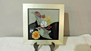 Moorcroft Pottery Courting Birds Framed Plaque by Emma Bossons