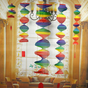 Bamboo Rainbow Wind Spinner Mobile Chime Garden Home Decor Pride PartyS Fy
