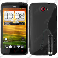 Housse Etui Coque Silicone Motif S-line Gel Souple Noir HTC One X + Mini Stylet