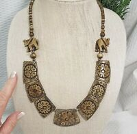 Vintage Tribal Teak Wood Elephant Boho Primitive Statement Necklace