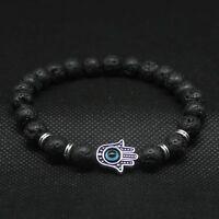 Men Lava Stone Hamsa Hand Evil Eye Beads Charm Beaded Energy Bracelet Bangle