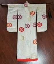 Antique Japanese Silk Wedding Kimono Uchikake  1950s VTG Orange Lining w Tassles