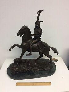 FREDERIC REMINGTON Bronze Sculpture The Scalp American Indian on Horseback RARE*