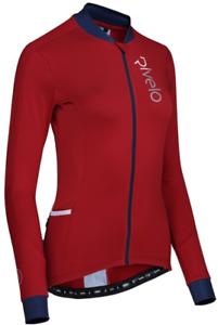 RIVELO Womens Woodvale Light Long Sleeve Cycling Jersey (Ruby/Navy) RRP £100