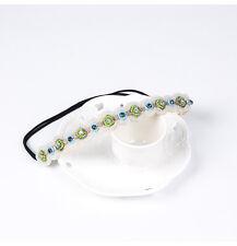 Women Classic Ethnic Style Rhinestone Pearl Beads Headband Handmade Hair Band