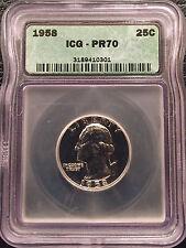 1958 Washington Quarter ~ ICG ~ PR70 ~ *Flawless* Rare Coin