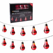Battery Operated 10 LED Santa Retro Bulb Shaped String Lights, Plastic, Red,