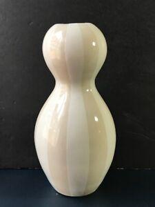 """9"""" Jonathan Adler Gourd Cream Beige Stripe Vase"""