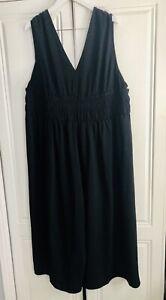 BNWT ASOS Black Crepe V Neck Shirred Waist Jumpsuit. Sz26