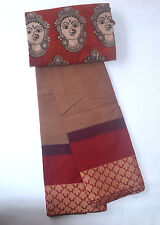 South Cotton pure handloom saree Maroon with multiple borders paisleys a