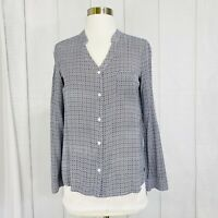 Soft Joie Women's Small Top Tunic Blue White Geometric Print Button #ZZ