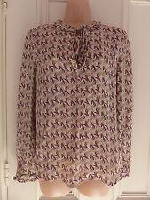 Next UK10 vintage look nude slightly sheer top pink, brown, green patterns, tie