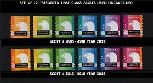 USA, SCOTT # 4585-4590 & 5013-5018, USED UNCANCELED SET OF 12 PRESORTED EAGLES