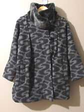 French Connection FCUK Grey Black S Pattern UK 6 Wool Blend Coat Faux Fur A-Line
