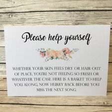 Rustic/Vintage/Shabby Chic Peach Please help yourself toiletry Wedding Sign