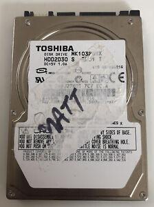 """Toshiba MK1032GSX 100GB 2.5"""" SATA Laptop Hard Drive 5400RPM HDD2D30 S ZK01 T"""