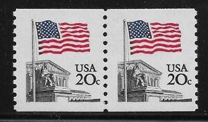 US Scott #1895, Coil Pair 1981 Flag 20c VF MNH