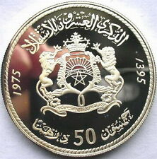 Morocco 1975 Independence 50 Dirhams 1oz Silver Coins,Proof