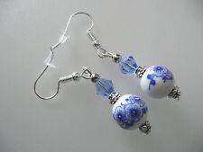 Vintage Art Deco Czech Crystal & Plum Blossom Ceramic Long Earrings Prom Boho
