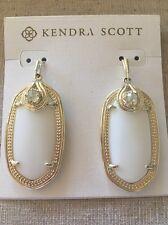 Kendra Scott Porter Earrings White & Gold Iridescent Crystal Detail Elle Size